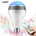 Regulable E27 10W RGB bombilla LED Bluetooth lámpara de iluminación Color ajustable altavoz música luces bombilla con RF 24key remoto control