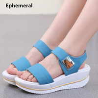 Women Hook Loop Platform Wedges Sandals High Heel Glitter Shoes Genuine Leather Pumps For Ladies White