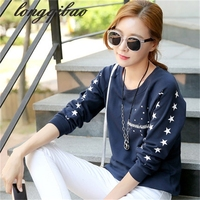 2017 Spring New Women S Loose Big Yards Female Long Sleeved Printed T Shirt 12 Colors