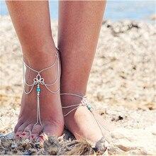 Летом Стиль Лодыжки Чешские каменные Браслеты Для Женщин Пляж Посеребренные Многослойных Цепи Лодыжки Ювелирные Изделия JL-025