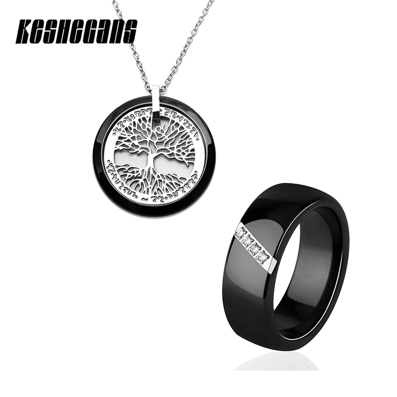 Fashion Wedding Party Jewelry Set Tree Of Life Pendant Necklace And Crystal 8mm Ceramic Ring For Women Black White Jewelry Sets