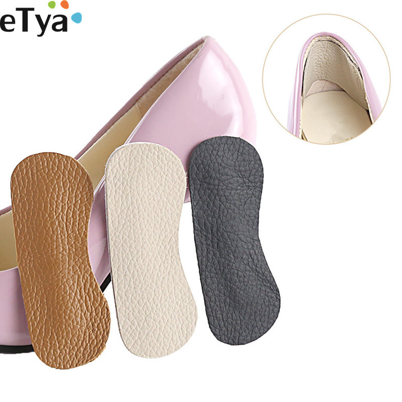 ETya 1Pair Women Shoes Inserts Lady High Heel Liner Cow Leather Insole   Adhesive Soft Pads Cushion Shoes Accessories