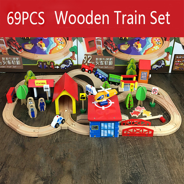 69Pcs Thom and Friends Wooden Train Track Toys Magical Brio Magnetic Rail Bridge Station Model Accessories toys For Children