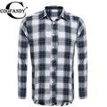 COOFANDY Casual Shirt Men Spring plaid Print Fashion Long Sleeve Button Down Collar Tassel Plaid Shirt US size S, M, L, XL, XXL