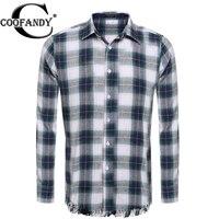 Coofandy Casual Shirt Men Spring Plaid Print Fashion Long Sleeve Button Down Collar Tassel Plaid Shirt