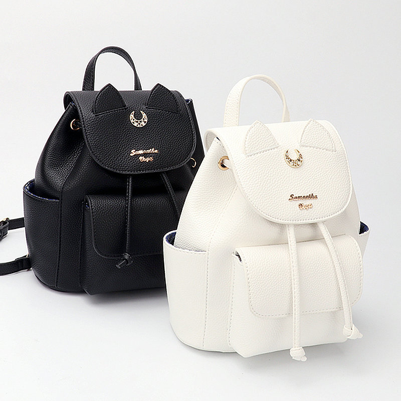 Offre spéciale Anime marin lune noir et blanc sac à dos Minako Aino et Luna Logo voyage sac à dos fille mignon cartable