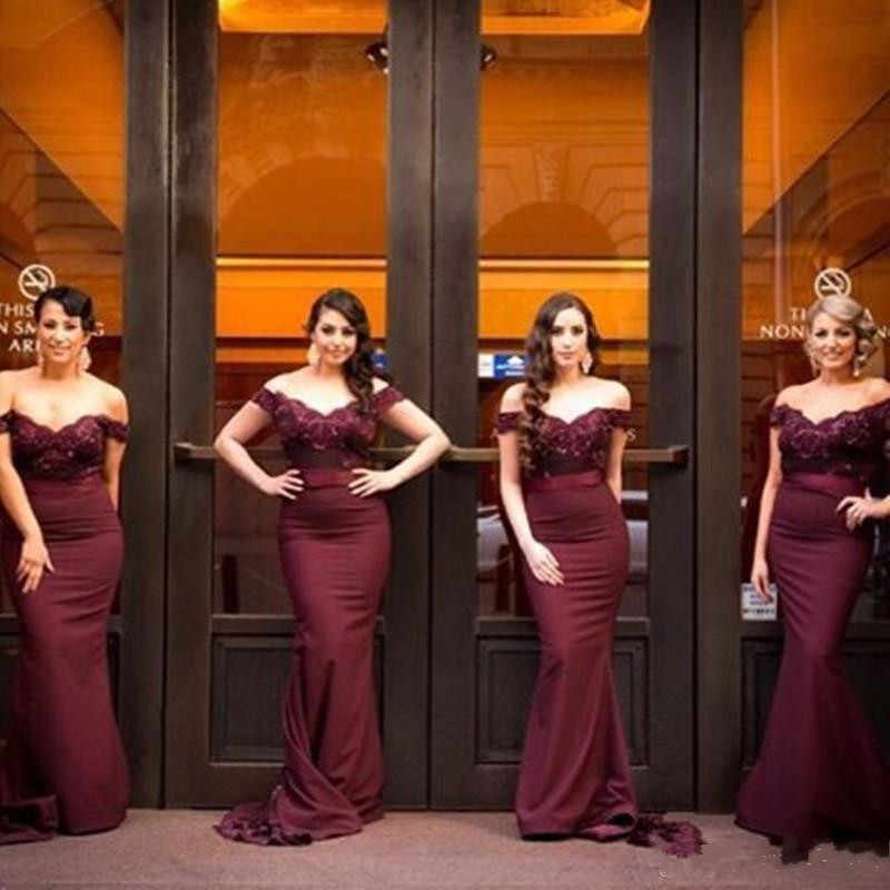 6f32c0469194 ... Cap Sleeves Burgundy Long Mermaid Bridesmaid Dresses Off Shoulder  Applique Lace Wedding Guest Dresses vestido longo ...
