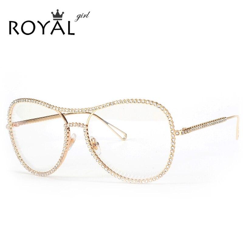 ROYAL GIRL Large Frame Rhinestones Eyewear Frames Twin ...