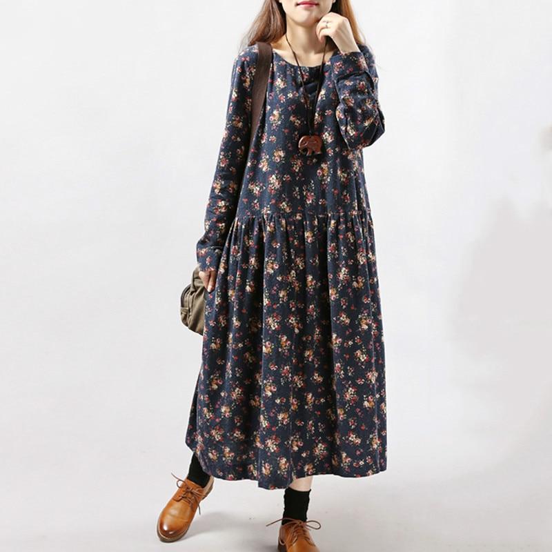 2019 New Women Dresses Autumn Winter Vintage Print Casual Long Sleeve Retro Cotton Maxi Robe Tunic Floral Big Plus Size Dress