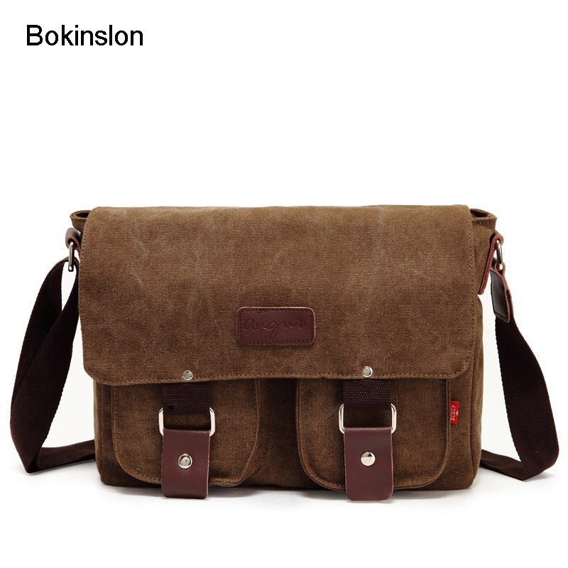 Bokinslon Men's Canvas Crossbody Bag Fashion Retro Men Messenger Bag High Quality Popular Students Shoulder Casual Bags 95 120usd popular high quality ba lovely retro fashion handbags messenger double back college bai le li 3 22