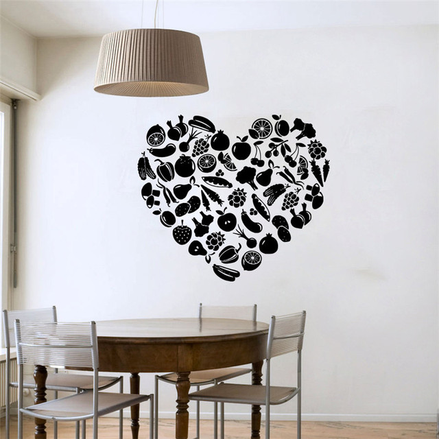 Aliexpresscom Buy Heart Shaped Fruit And Vegetable Wall Sticker - Lego wall decals vinylaliexpresscombuy free shipping lego evolution decal wall