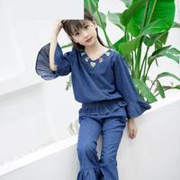 2018 New Arrival Girls Clothing Sets Denim Shirts Pants Summer Fashion Children Pants 2 Pcs Suits