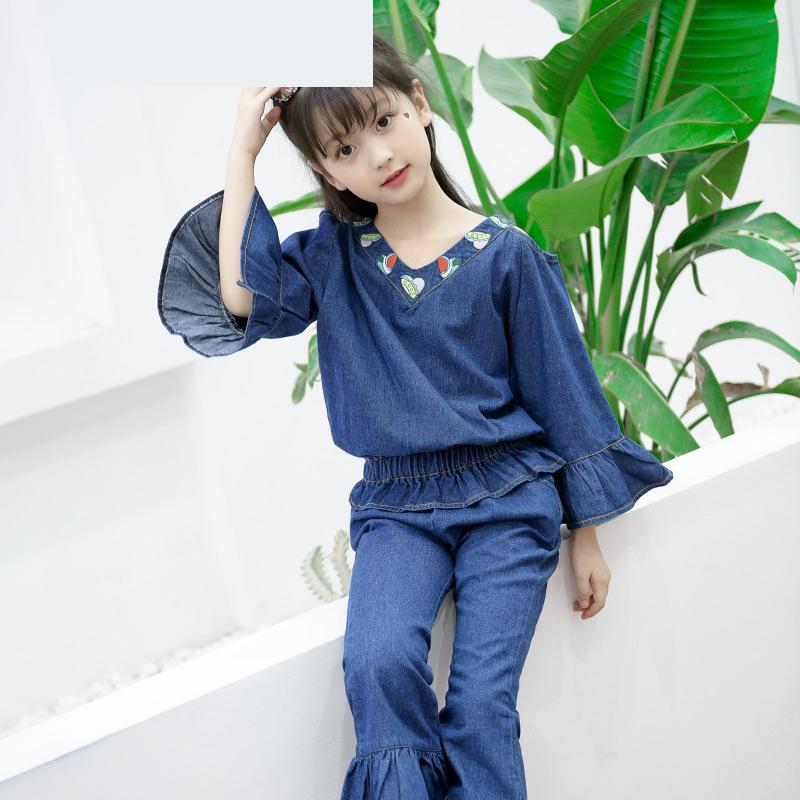 2018 New Arrival Girls Clothing Sets Denim Shirts + Pants Summer Fashion Children Pants 2 Pcs Suits Jeans Conjunto Infantil Sale colorful brand large size jeans xl 5xl 2017 spring and summer new hole jeans nine pants high waist was thin slim pants