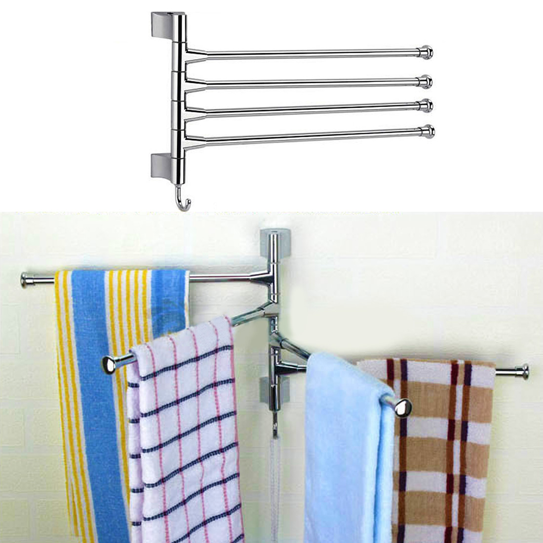 Stainless Steel 2/3/4 Layers Shower Towel Bar Rotating Towel Rack Bathroom Kitchen Towel Polished Rack Holder Hardware Accessor