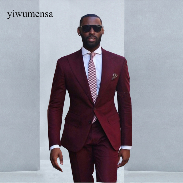 Custom made Wine Red men suit 2018 Formal Wear Mens Wedding Suits ...