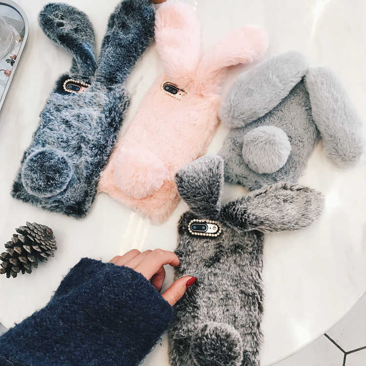 For iPhone 7 Case 3D Cute Rabbit Hairy Warm Fur Bling Rhinestone Plush Bunny Case Cover for iPhone XS 4 4S 5 5S SE 5C 6 6S 8Plus