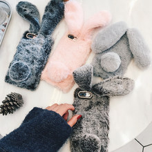 For iPhone 7 Case 3D Cute Rabbit Hairy Warm Fur Bling Rhinestone Plush Bunny Case Cover for iPhone XS 4 4S 5 5S SE 5C 6 6S 8Plus(China)