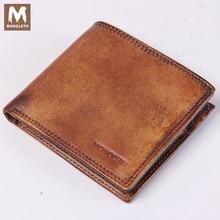 MONOLETH Genuine Leather Wallet For Men Vintage Wallet Zipper Pocket Wallet ID Credit Card Purse Clutch Pouch Coin Purse W2003-1