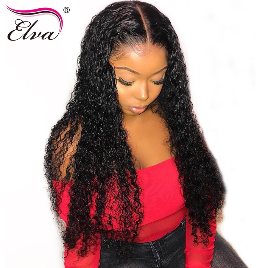 13x6 partie profonde perruque avant en dentelle bouclée 150% densité sans colle avant de lacet perruques de cheveux humains avec des cheveux de bébé brésilien Remy Elva perruque de cheveux