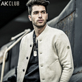 AK CLUB Men Sweatshirt Baseball Jersey Fleece Cotton Hoodie MA-1 Button Placket Baseball Collar Jacket Casual Outwear 1505053