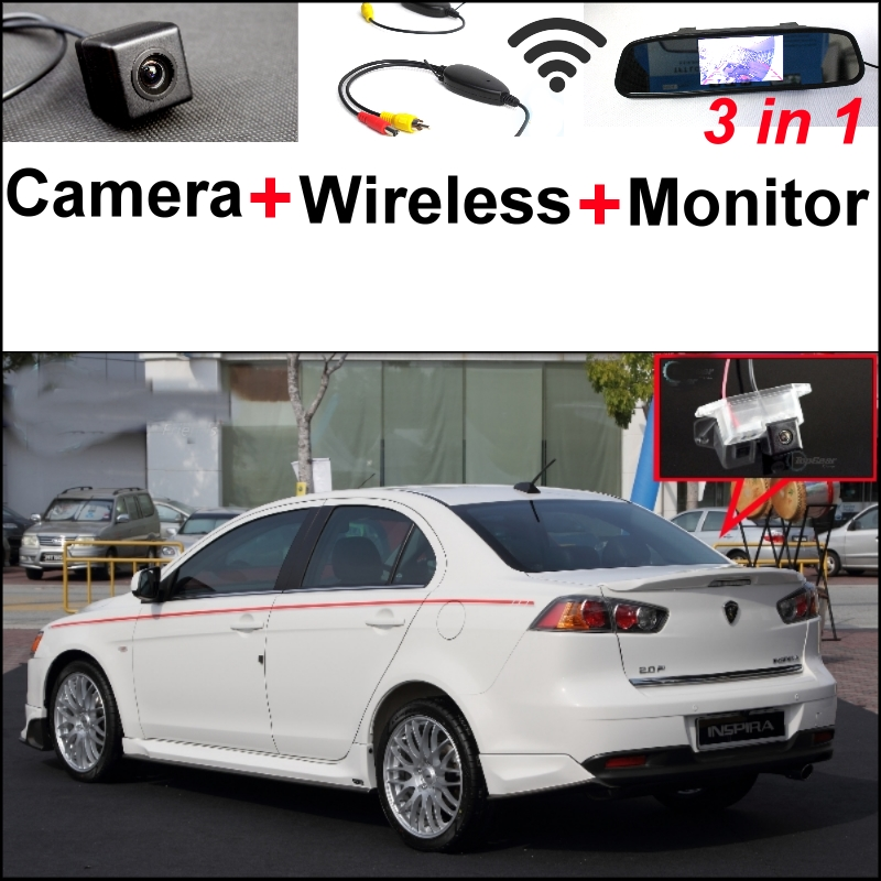 3 in1 Special Rear View Camera + Wireless Receiver + Mirror Monitor Easy Back Up Parking System For Proton Inspira 2007~2015 wireless pager system 433 92mhz wireless restaurant table buzzer with monitor and watch receiver 3 display 42 call button