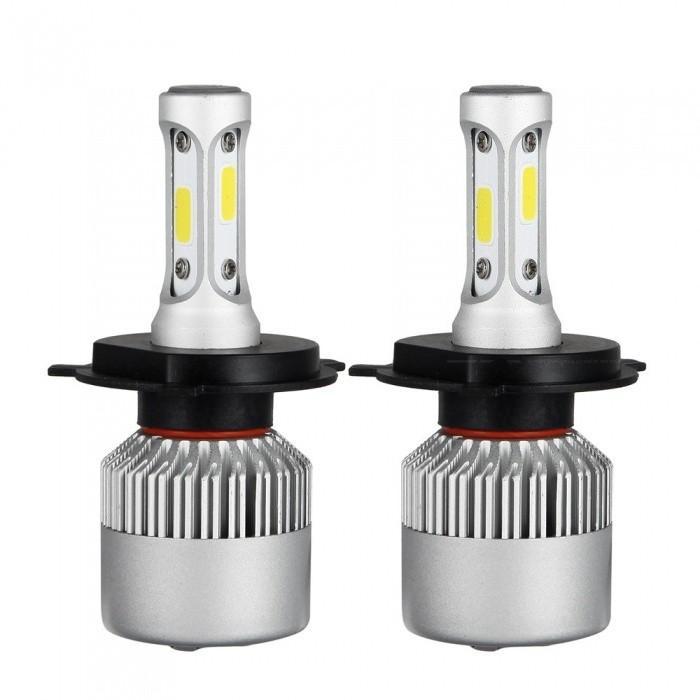 H4 LED 12V Hi Lo Beam 72W 8000lm triangle COB High Super bright white light Low Beam Headlight bulb car light Free shipping