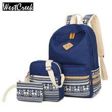 Westcreek бренд Для женщин Сумки комплект рюкзак ноутбук дамы backbag холст с принтом оленя рюкзак ранцы для подростка Обувь для девочек