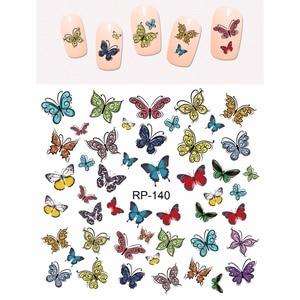 Image 5 - UPRETTEGO נייל אמנות יופי נייל מדבקת מים מדבקות מחוון קריקטורה חמוד פרפר חרקים RP139 144