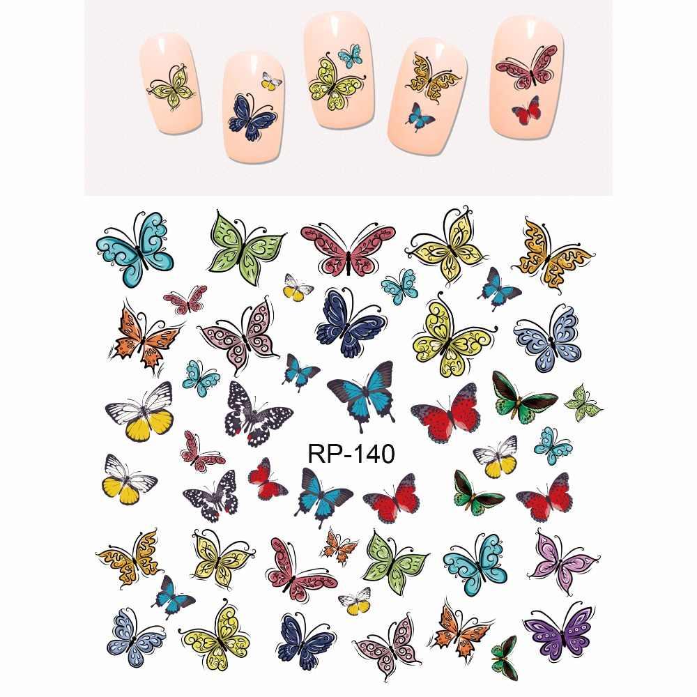 Upretego arte do prego beleza etiqueta do prego água decalque slider dos desenhos animados bonito borboleta inseto RP139-144