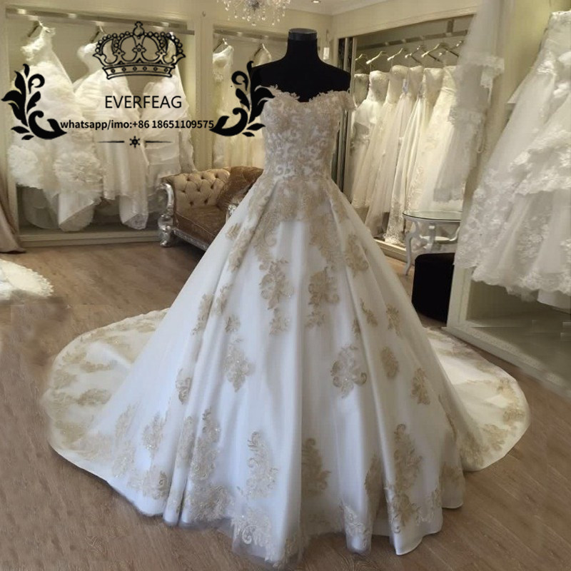 Wedding Dress White And Gold: Princess White Ivory Wedding Dresses With Gold Applique