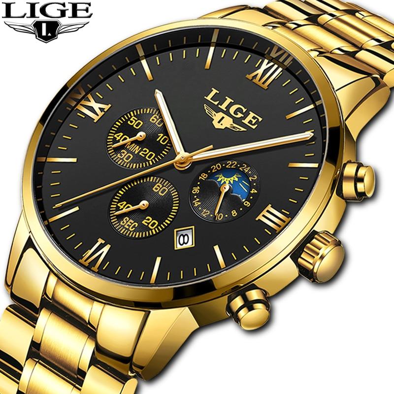 LIGE Watch Chronograph Gold Clock Quartz Sport Waterproof Luxury Top-Brand Men Relogio Masculino