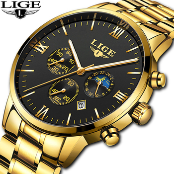 цена LIGE Men Watch Chronograph Sport Mens Watches Top Brand Luxury Waterproof Full Steel Quartz Gold Clock Men Relogio Masculino онлайн в 2017 году