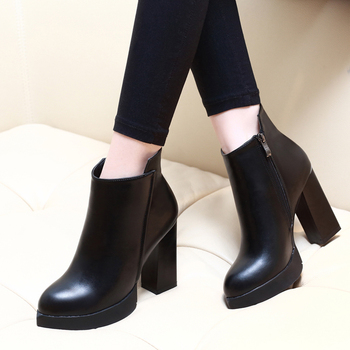 Thick High Heels Women Boots Pointed Toe Footwear Genuine Leather Female Ankle Boots Autumn Winter Zip New Black Shoes CH-A0012 skyyue new genuine leather pointed toe women boots zip side thin high heel ankle boots shoes women
