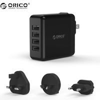 ORICO USB 4 Ports Travel Charger With Converter EU UK AU Plug USB Super Charger 5V6