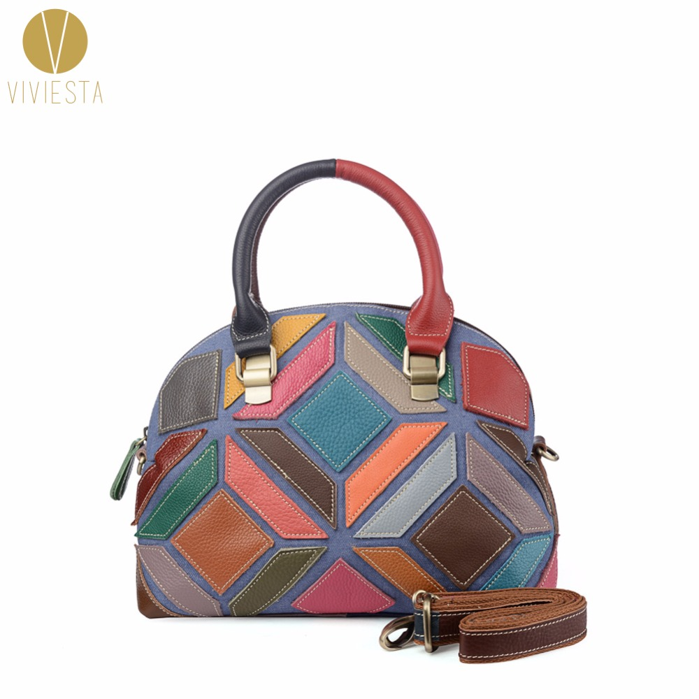 GEOMETRIC PATCHWORK GENUINE LEATHER BOWLER TOTE - Women's Daily Casual Work Soft Full Grain Real Skin Large Shoulder Bag Handbag crossbody bowler bag