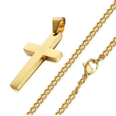 New Cross Necklaces & Pendants For Men Stainless Steel Gold Colour Male Pendant Necklaces Prayer Jewelry Friend Gift Islamabad
