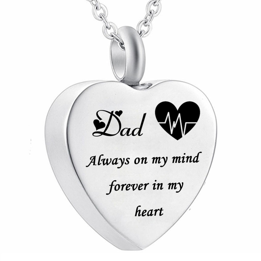 Electrocardiogram Heart Pendant Cremation Jewelry Dad Always On My Mind Forever In My Heart Memorial Urn Necklace Ashes Keepsake Pendant Necklaces Aliexpress