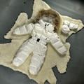 Bebé Traje Para La Nieve de invierno 2017 Ropa de Los Bebés de Los Mamelucos Trajes Calientes Para Las Niñas Recién nacidas de Down Parka Espesar Mameluco Del Bebé