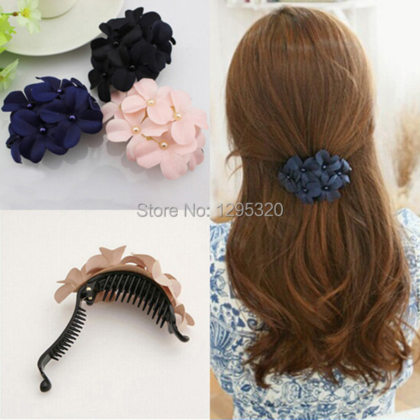 dulce pinza de pelo headwear banda para el cabello de flores de tela para las mujeres