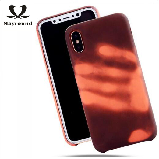MAYROUND Fashion Special Heat Sensitive Color Changing for Apple iPhone ten X 10 Full Cover case Flexible Camera Protect Shell