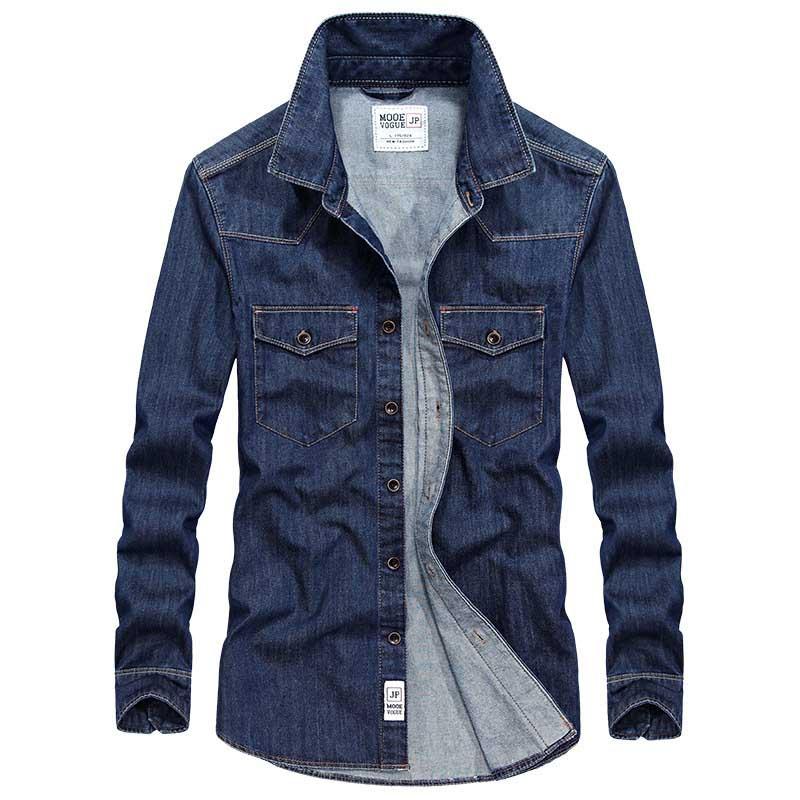 New Jean Shirt Spring Autumn Men Casual Long Sleeve Shirt Cotton Stretch Male Denim Shirt Beach Shirts Blue Big Size M-3XL