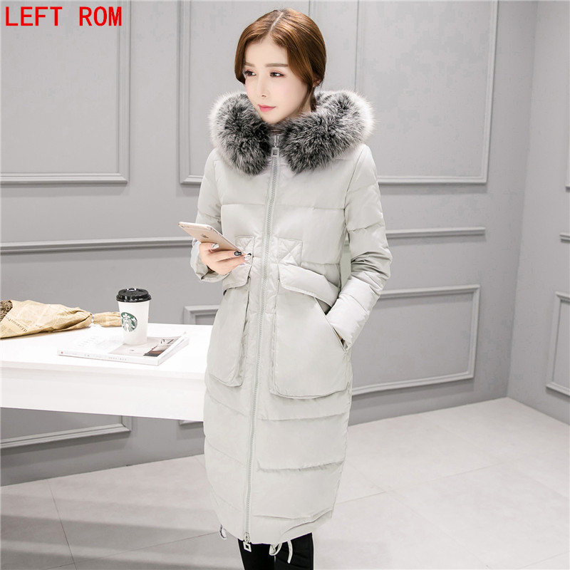 brand down jacket winter duck down jacket women long coat parkas thickening Female Warm Clothes Rabbit fur collar High Quality