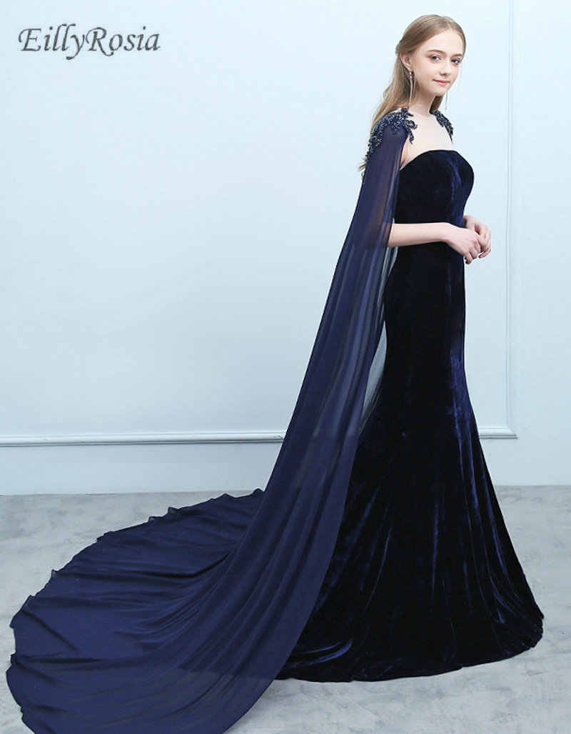 e4f882ff6c9ad ... Navy Blue Velvet Evening Dresses with Cape Beading Mermaid Burgundy  Arabic Evening Gowns Mother of the ...