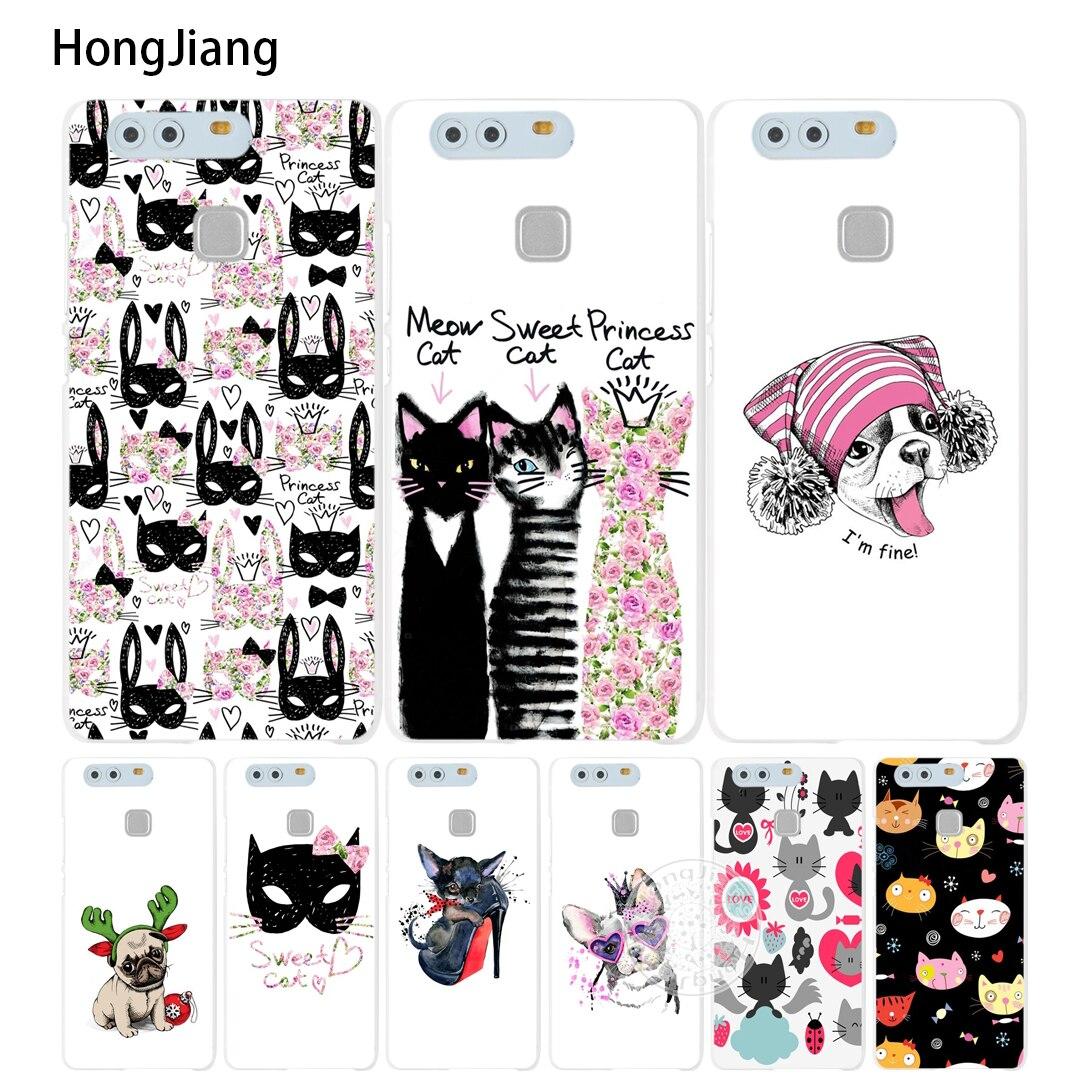 Hongjiang милый щенок Мопс Кролик Кот мяу бульдог крышка телефона чехол для Huawei Ascend P7 P8 P9 P10 lite плюс g8 G7 Honor 5C 2017