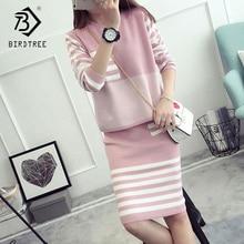 Женский комплект из свитера и юбки размера плюс 4XL, трикотажные пуловеры в полоску с круглым вырезом и длинными рукавами, S88624LD на осень