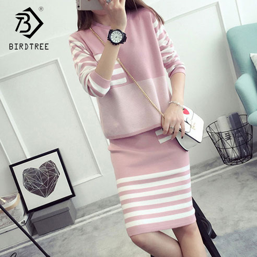 Plus Size 4XL New Autumn Woman's Sweater And Skirt Sets O-Neck Full Sleeve Knitted Pullovers Striped Dresses S88624LD