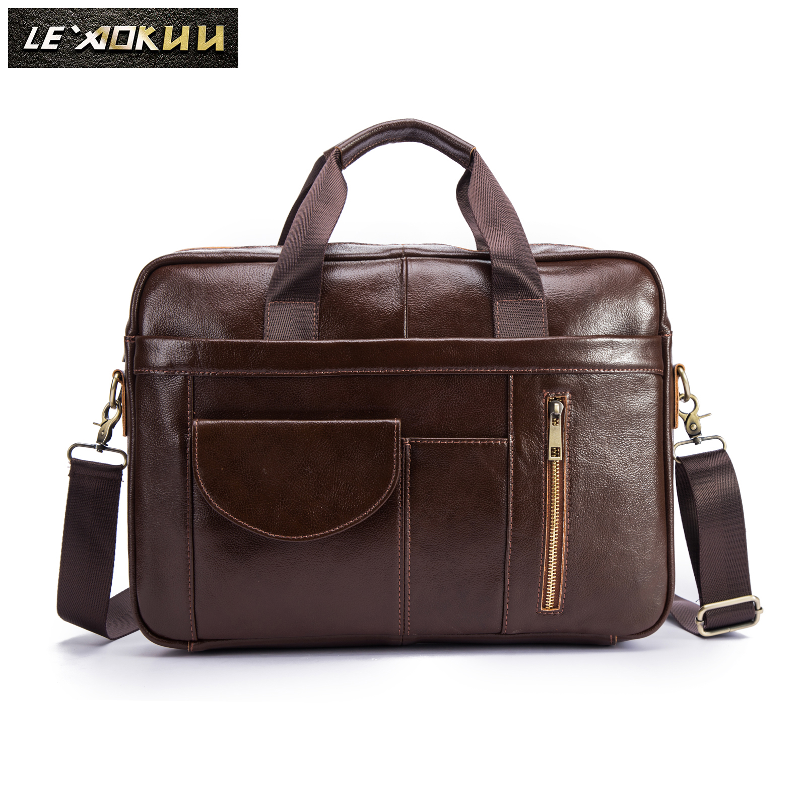 Men Genuine Leather Vintage Fashion Travel Briefcase Business 15.6