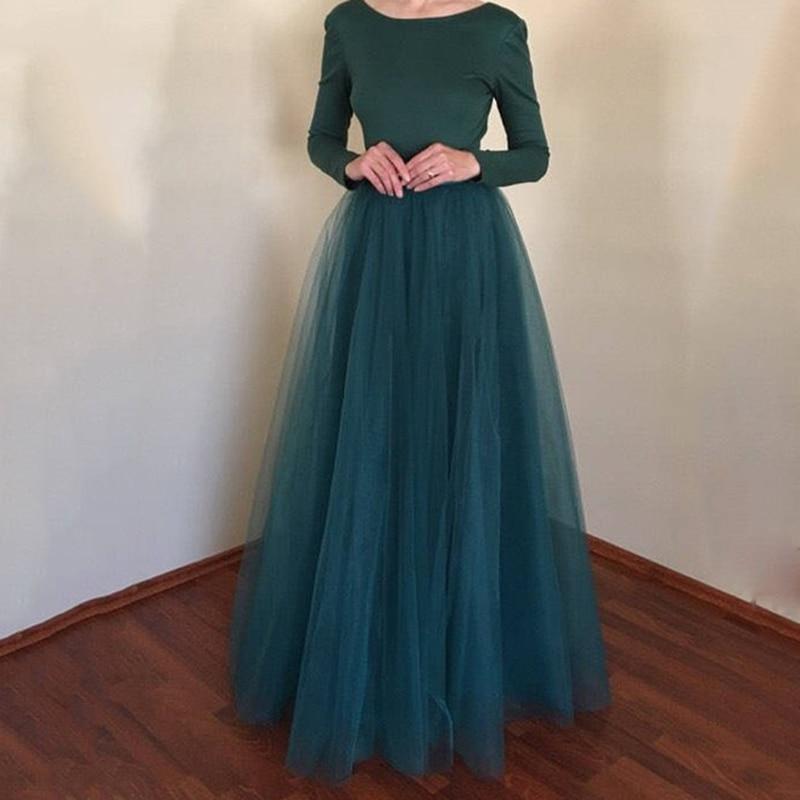 c75b288d5 2019 nueva llegada falda Maxi de tul Falda larga elástica faldas de cintura  alta enaguas de dama de honor para fiesta de boda