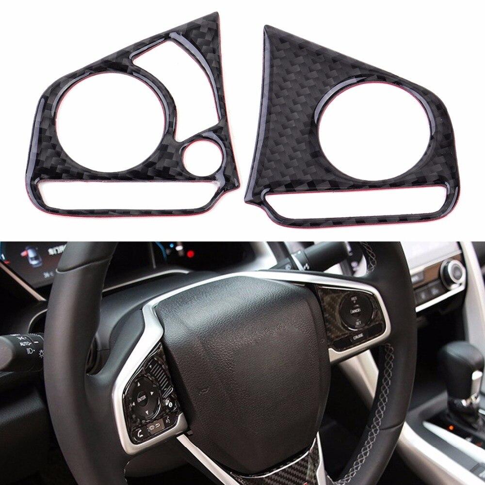 DWCX 2 Pcs Voiture En Fiber De Carbone et PU Noir Auto Volant Bouton Cover Version Décoration Fit Pour Honda Civic 2016 6.5x6.2x0.1 cm