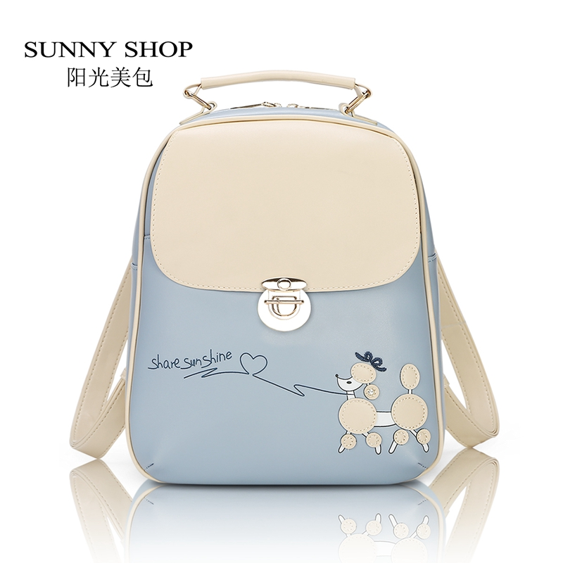 SUNNY SHOP Korean Fresh Students Backpack Women Leather Backpack School Bags for girls Cute Printing Backpacks